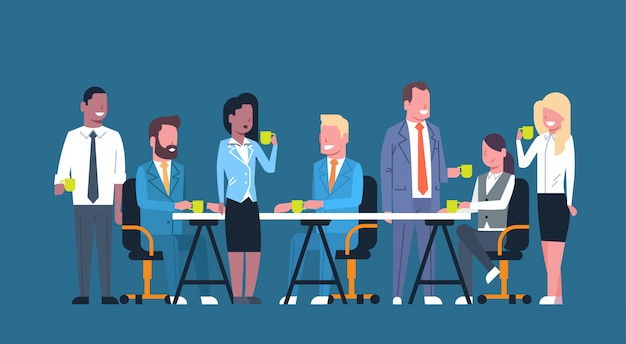 Business people team on coffee break together, group of businesspeople sitting at desk holding cups Premium Vector