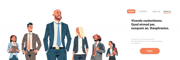 Business people team leader banner Premium Vector