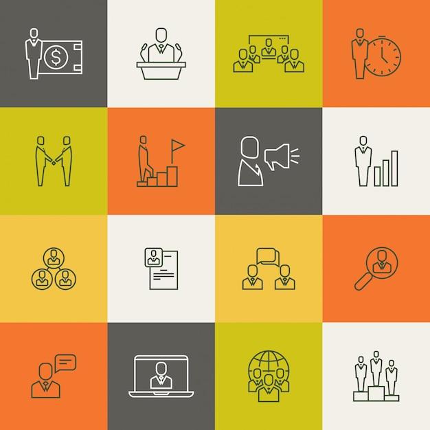 Business people team relationship, human management thin line Premium Vector