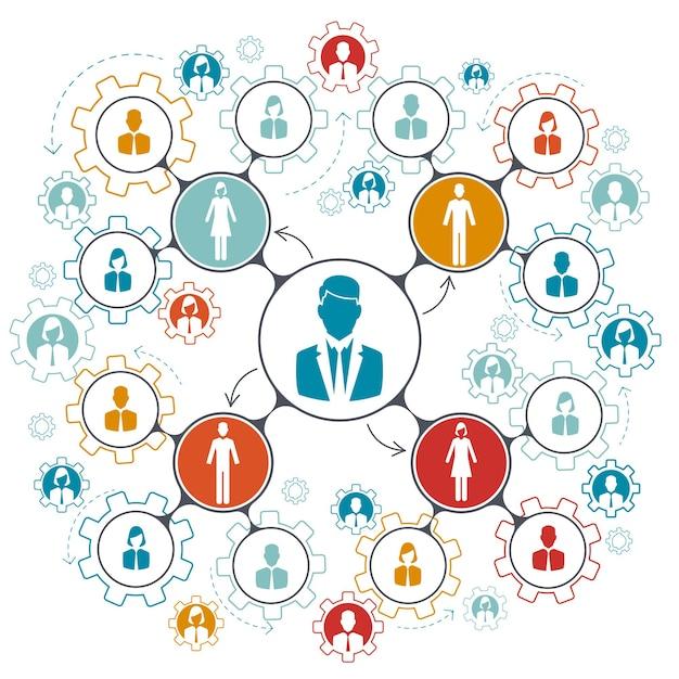 비즈니스 사람들이 팀 작업. 회사에서 팀워크의 관리 구조 계층. 무료 벡터