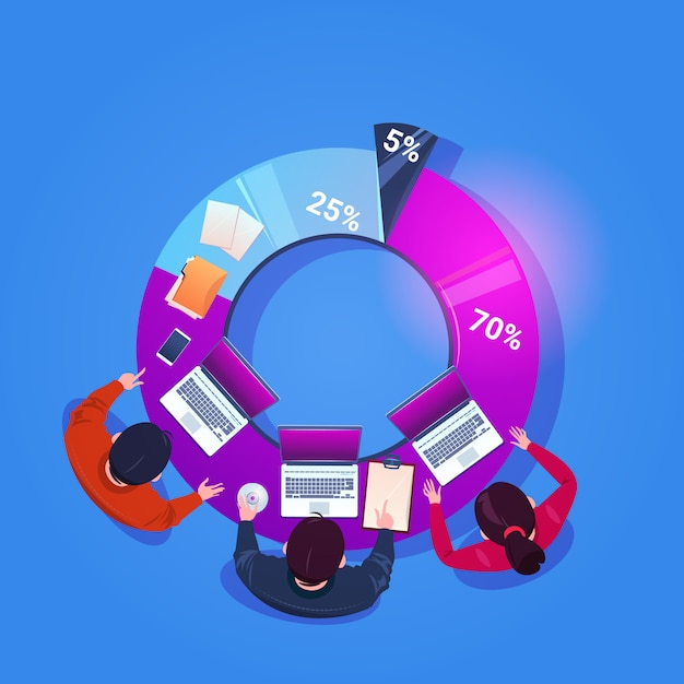 Business people team working together on financial report sit at diagram top angle view Premium Vector
