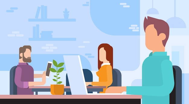 Business people team working workplace coworking office Premium Vector