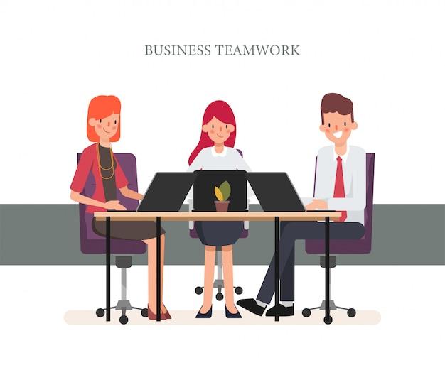 Business people teamwork colleague seminar meeting. Premium Vector