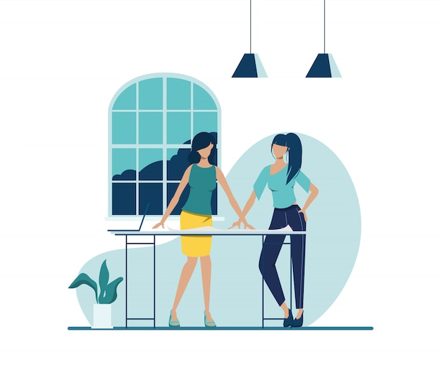Business people teamwork office character. animation for motion. colleague seminar meeting. co-working space office interior. Premium Vector