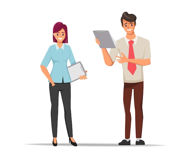 Business people teamwork office character discuss with colleague Premium Vector
