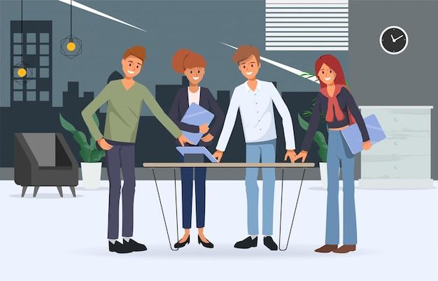 Business people teamwork office character Premium Vector