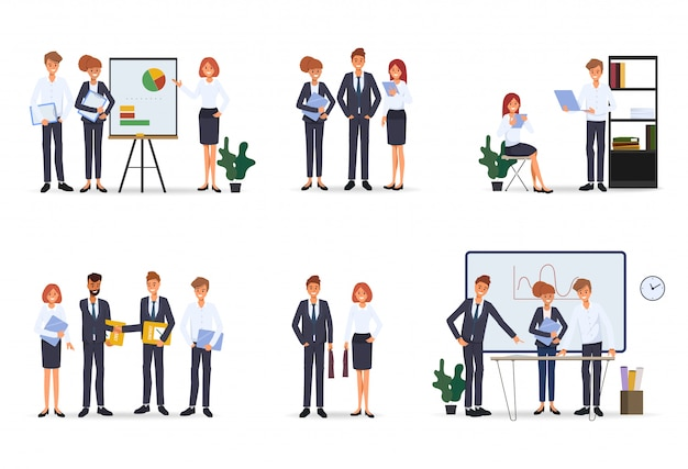 Business people teamwork office character Premium Vector