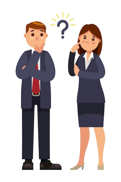 Business people thinking with question mark Premium Vector
