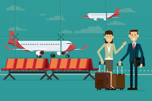 Business people travel with suitcases in airport terminal and plane, vector illustration Premium Vector