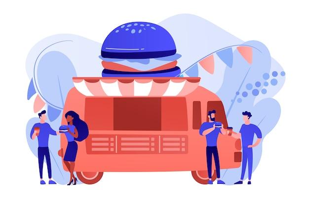 Uomini d'affari al camion con hamburger mangiare fast food e bere caffè. festival del cibo di strada, rete alimentare locale, concetto di festival di cucina mondiale. pinkish coral bluevector illustrazione isolata Vettore gratuito