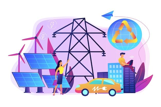 Gli uomini d'affari utilizzano energia elettrica rinnovabile pulita in città. energia rinnovabile, risorse energetiche rinnovabili, concetto di servizi energetici rurali. Vettore gratuito