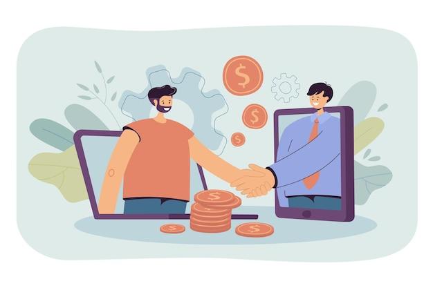 온라인 거래를 성사시키기 위해 컴퓨터를 사용하는 비즈니스 사람들. 만화 그림 무료 벡터