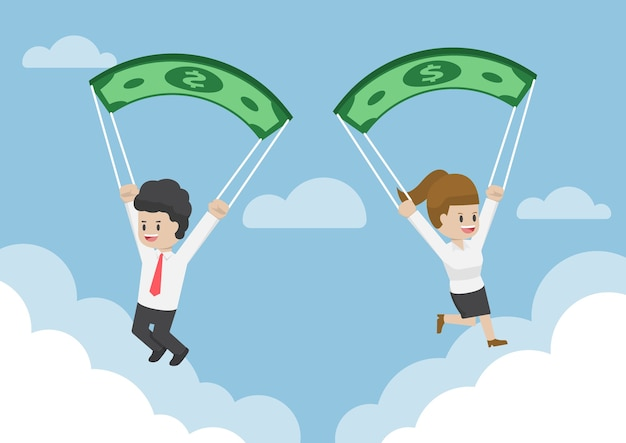 Business people using dollar banknote as a parachute Premium Vector