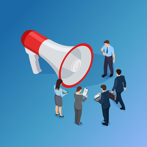Business people waiting for announcement and megaphone Premium Vector