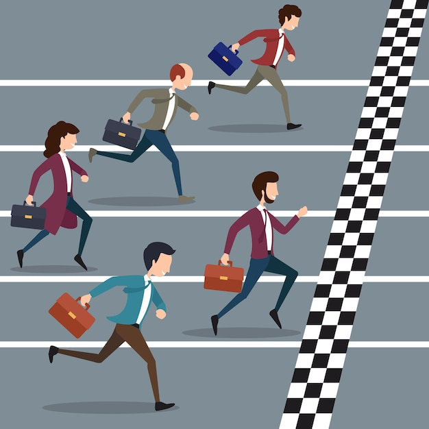 마라톤에서 우승하는 사업 사람들. 비즈니스 스포츠, 성공 마라톤 대회, 비즈니스 목표 무료 벡터