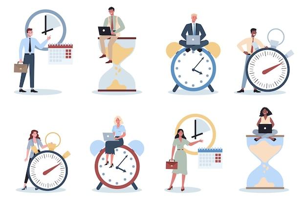Деловые люди с часами. эффективность работы и планирование. концепция продуктивного тайм-менеджмента. планирование задач, составление недельного расписания. Premium векторы