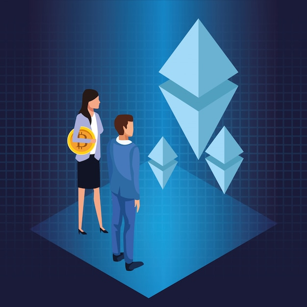 Business people with bitcoin Premium Vector