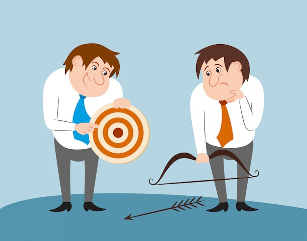 Business people with bow arrow and target Free Vector