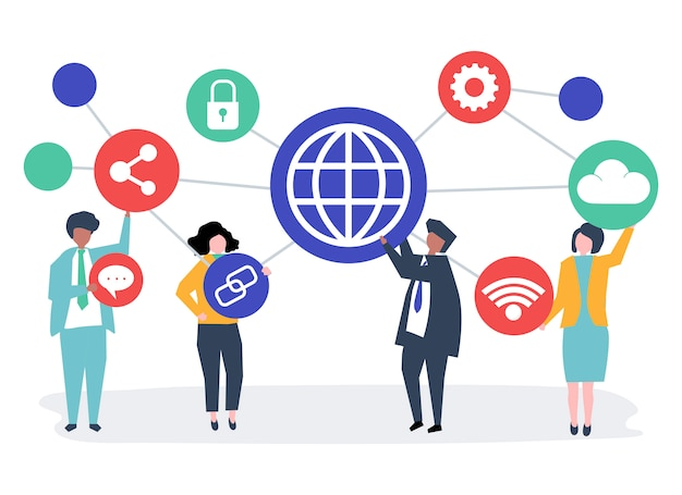 Business people with connection icons Free Vector