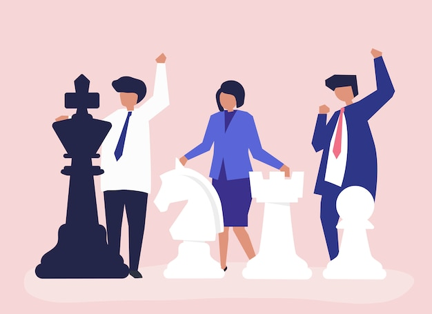 Business people with giant chess pieces Free Vector