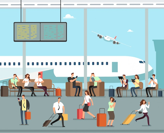 Business people with luggage at airport vector travel concept Premium Vector