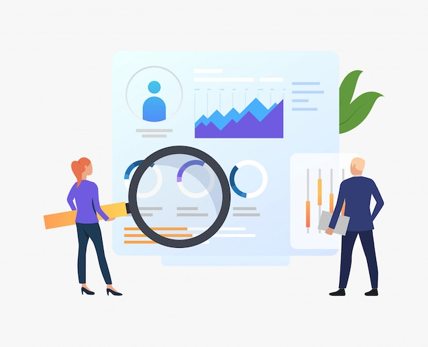 Business people with magnifying glass at charts Free Vector