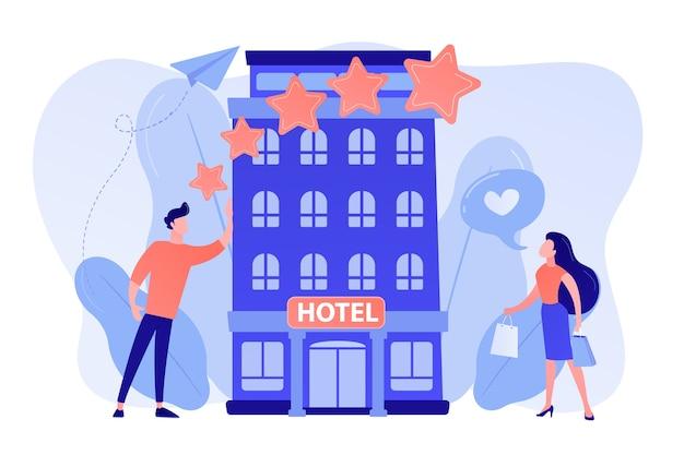 세련된 부티크 호텔과 같은 등급 별을 가진 비즈니스 사람들 무료 벡터