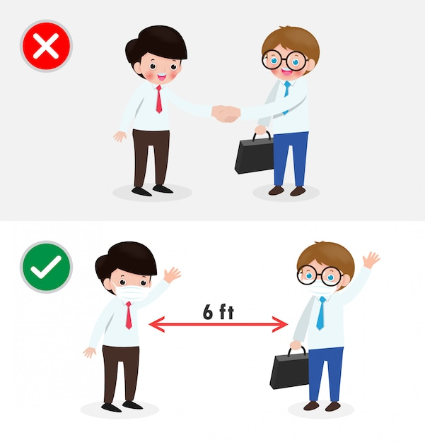 Business people with right and wrong ways and prevention tips of coronavirus 2019 ncov. no handshake and social distancing, safe greeting no handshake no hands contact isolated on white background Premium Vector