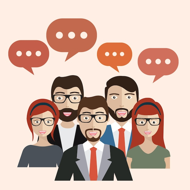 Business people with speech bubbles Free Vector