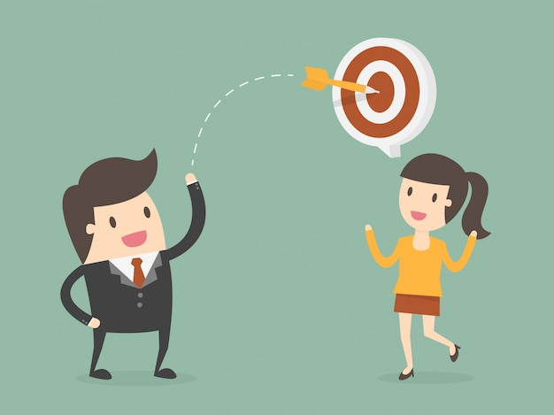 Business people with target