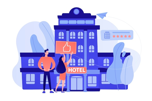 Gente di affari con il pollice in su per un moderno hotel alla moda Vettore gratuito