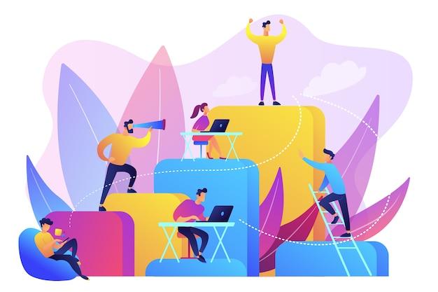 사업 사람들은 일하고 회사 사다리를 올라갑니다. 고용 계층, 경력 계획, 경력 사다리 및 성장 개념 무료 벡터