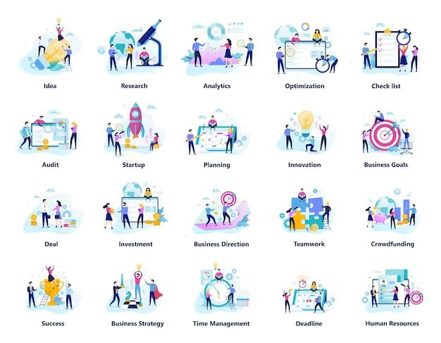 비즈니스 사람들이 팀 큰 세트에서 작동합니다. 창의적인 팀워크의 컬렉션입니다. 성공 상징 및 금융 산업. 삽화 프리미엄 벡터