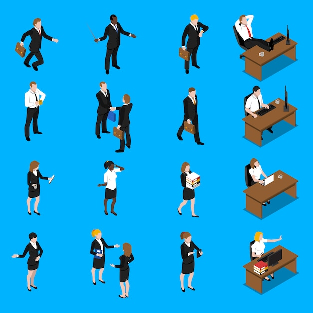 Business people work isometric icons set Free Vector