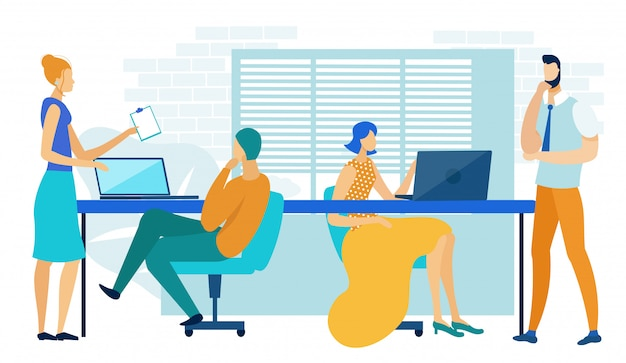 Business people work in modern shared office Premium Vector