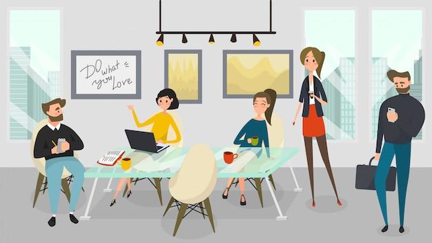 ビジネスの人々は、近代的なオフィス、イラストで一緒に働きます Premiumベクター