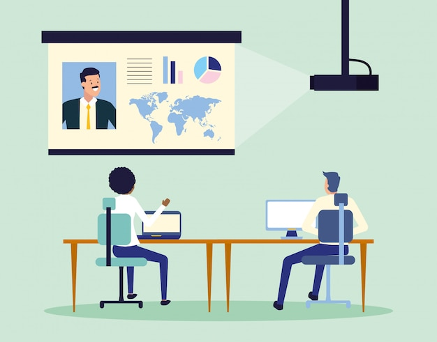 Business people at work Free Vector