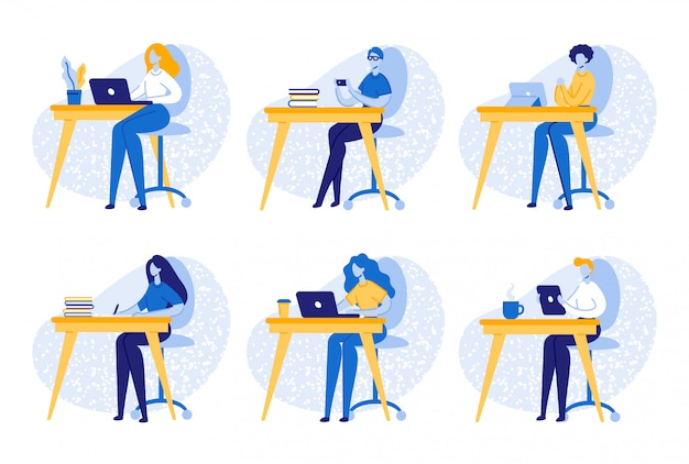 Business people, workers, students at workplace Premium Vector