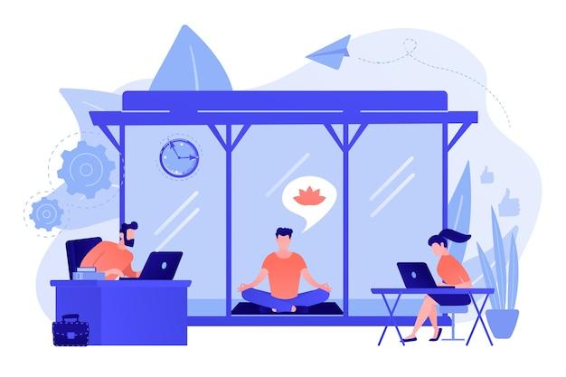 Деловые люди, работающие за ноутбуками в офисе с зоной для медитации и отдыха. офисная комната для медитации, стручок для медитации, концепция офисного расслабляющего места. розовый коралловый синий вектор изолированных иллюстрация Бесплатные векторы