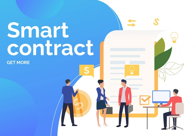 Business people working, concluding contract Free Vector