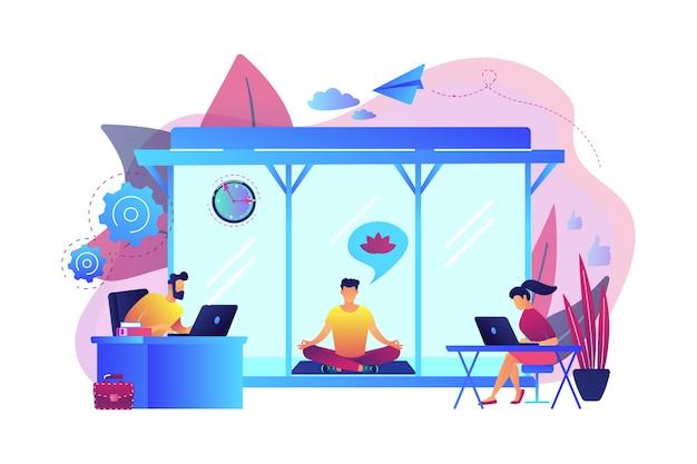 Gente di affari che lavora al computer portatile in ufficio con meditazione e area relax. sala di meditazione dell'ufficio, pod di meditazione, concetto di luogo rilassante dell'ufficio. illustrazione isolata viola vibrante brillante Vettore gratuito
