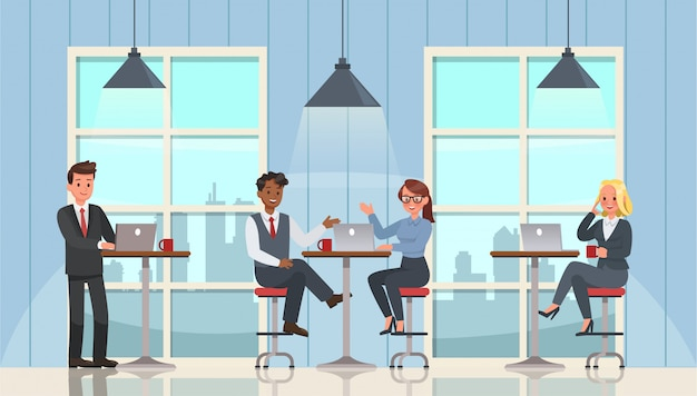 Business people working and meeting in office character set Premium Vector
