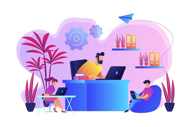 Gente di affari che lavora in un moderno ufficio ecologico con piante e fiori. stanza di design biofila, spazio di lavoro ecologico, concetto di ufficio verde. illustrazione isolata viola vibrante brillante Vettore gratuito