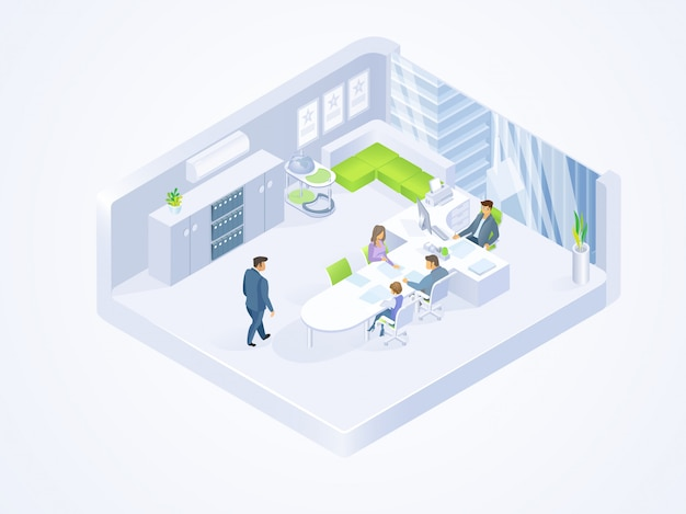 Business people working in office isometric vector Premium Vector
