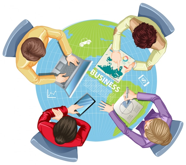 Business people working on computer\ illustration