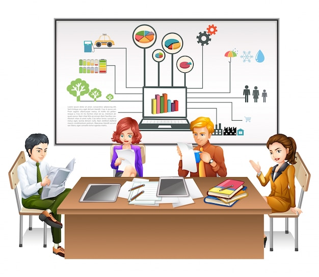 Business people working on the table\ illustration