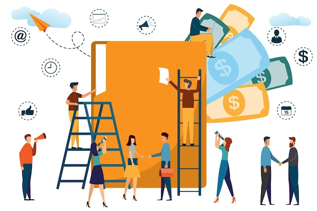 Business people working with a big folder in an office. modern vector illustration. Premium Vector
