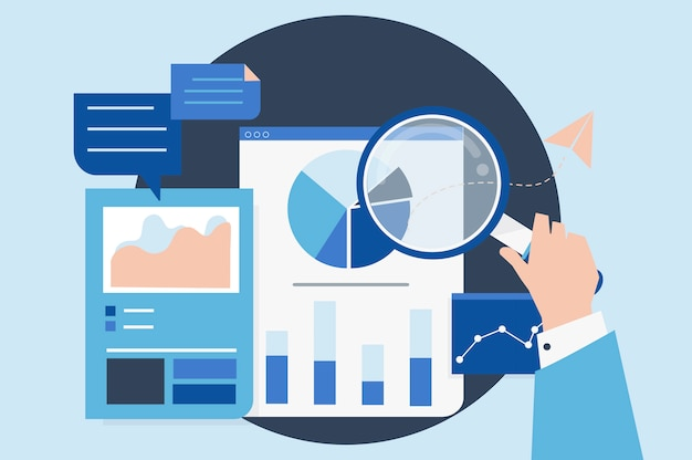 Business performance analysis with graphs Free Vector
