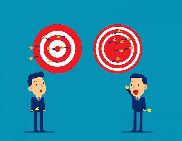 Business person throwing darts at dart board Premium Vector