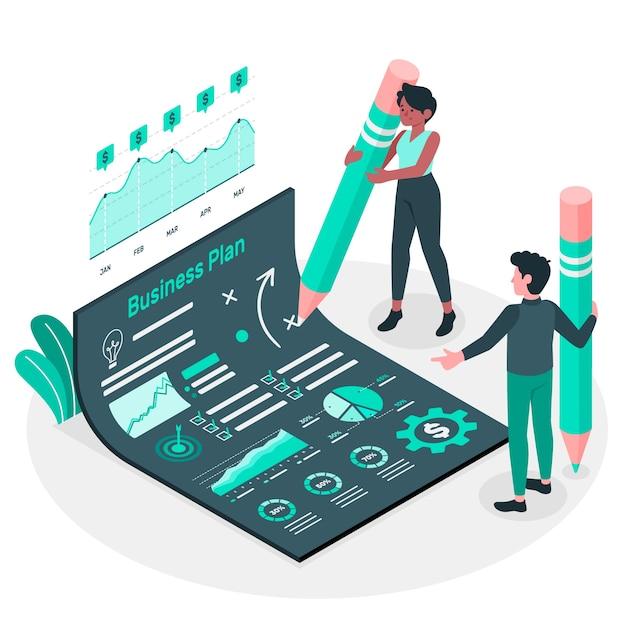 Business plan concept illustration Free Vector